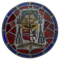 "19th Century Stained Glass and Lead ""Salus Animarum Suprema Lex"" Crest Window"