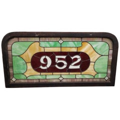 19th Century Stained Glass Victorian House Number Window Panel, circa 1880