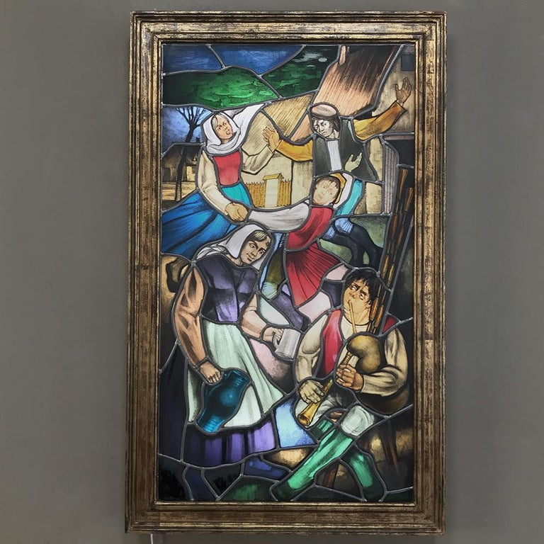 Belgian 19th Century Stained Glass Window ~ Lighted Shadowbox For Sale