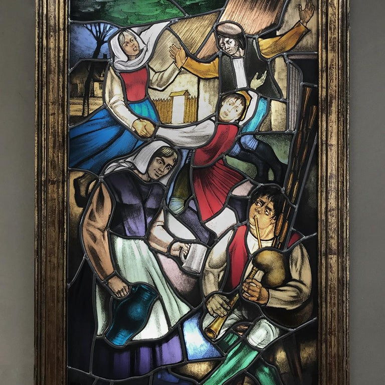Hand-Crafted 19th Century Stained Glass Window ~ Lighted Shadowbox For Sale