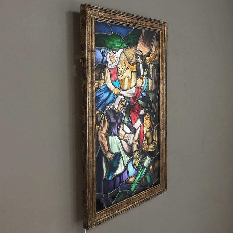 19th Century Stained Glass Window ~ Lighted Shadowbox In Good Condition For Sale In Dallas, TX