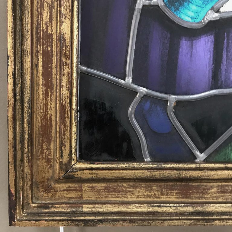 Late 19th Century 19th Century Stained Glass Window ~ Lighted Shadowbox For Sale