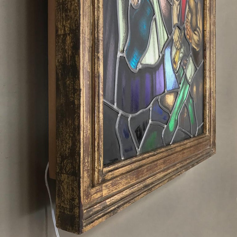 Art Glass 19th Century Stained Glass Window ~ Lighted Shadowbox For Sale