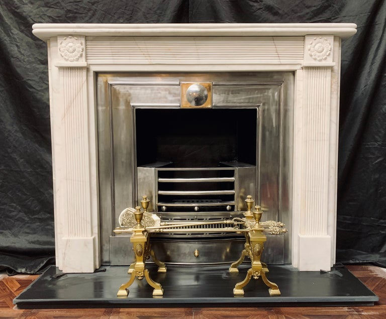 19th Century Statuary Marble Regency Style Carved Fireplace Surround For Sale 5