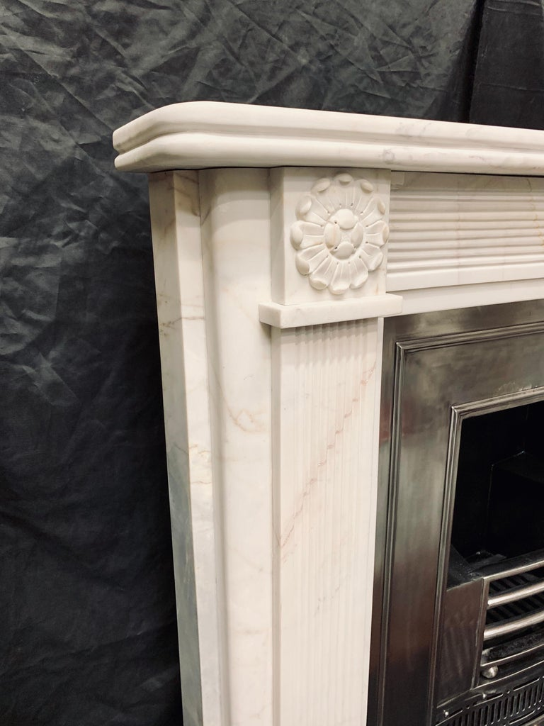 19th Century Statuary Marble Regency Style Carved Fireplace Surround For Sale 3
