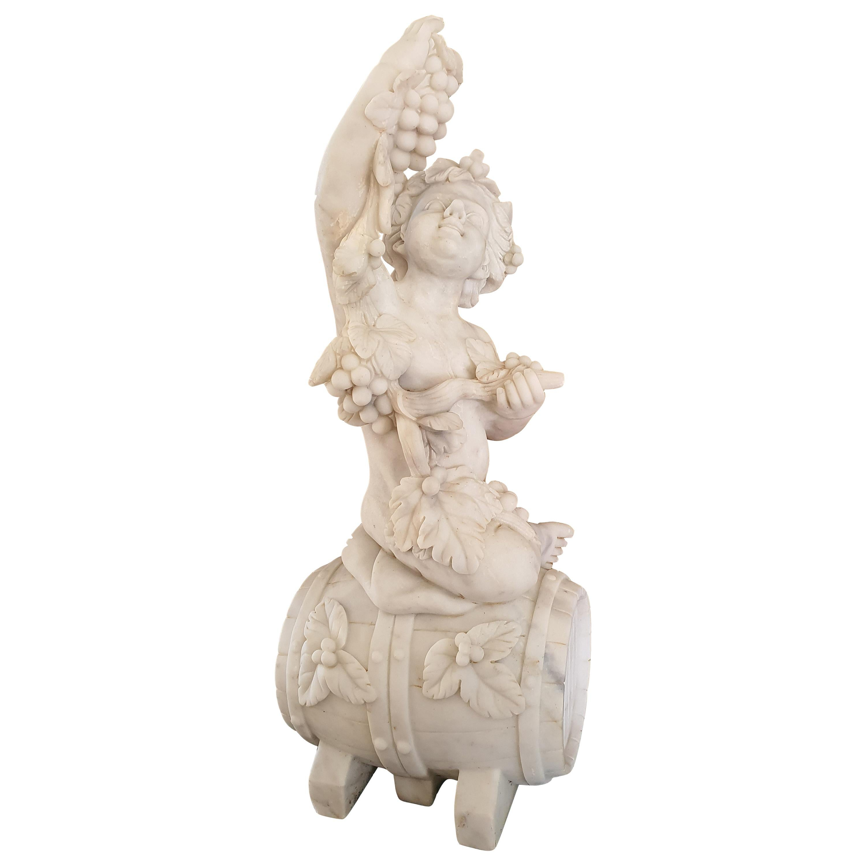 19th Century Statuary Marble Sculpture Cherub Bacchus