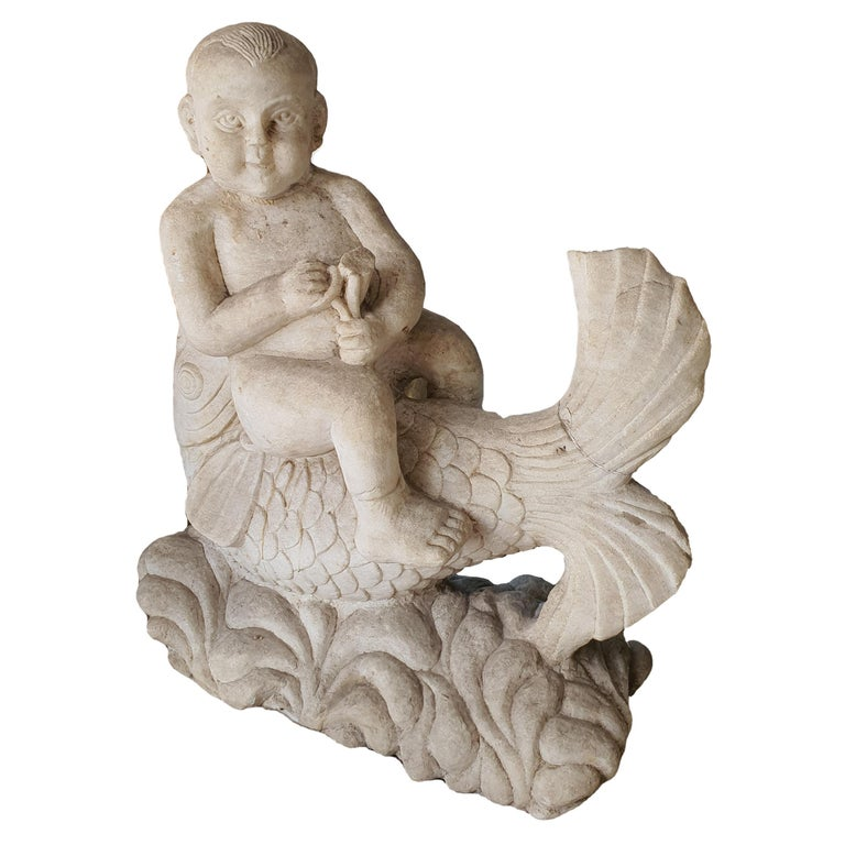 19th Century Statuary White Marble Sculpture For Sale