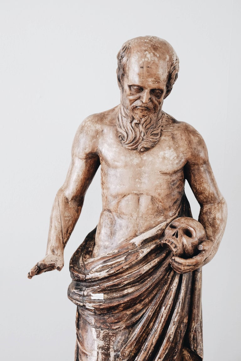 Italian 19th Century Statue of St Jerome For Sale