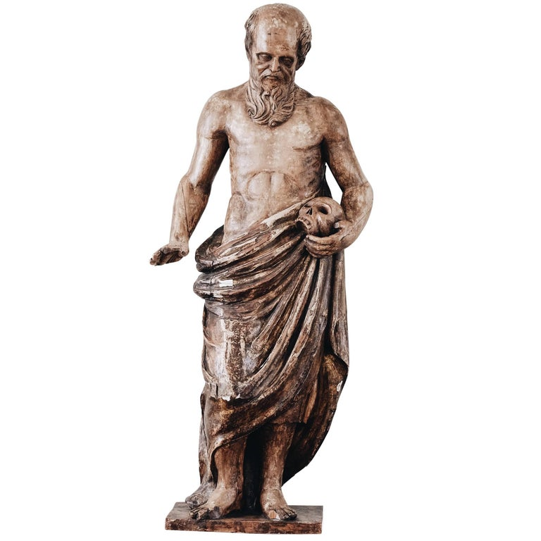 19th Century Statue of St Jerome For Sale