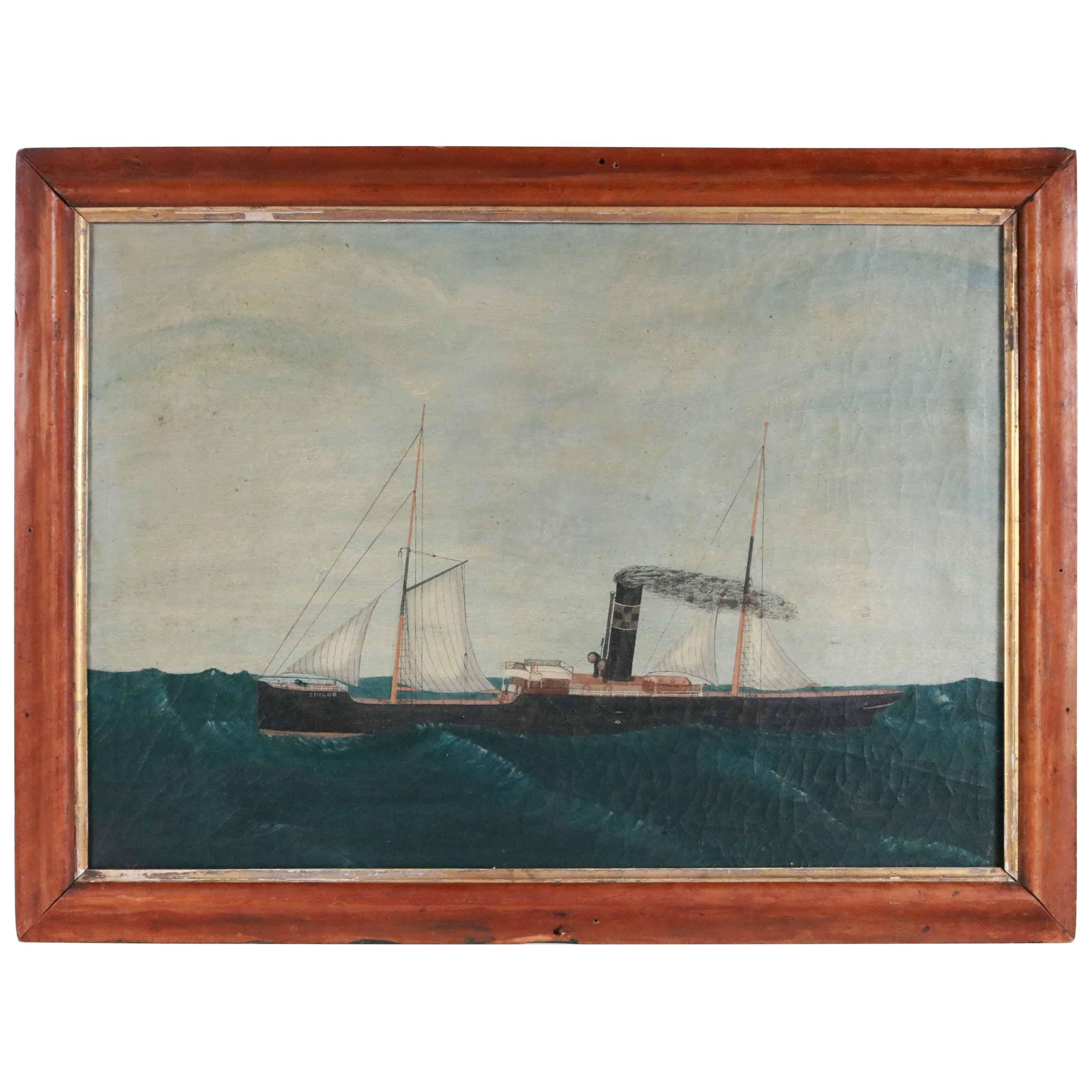 "19th Century Steamship Painting ""Sinloo"""
