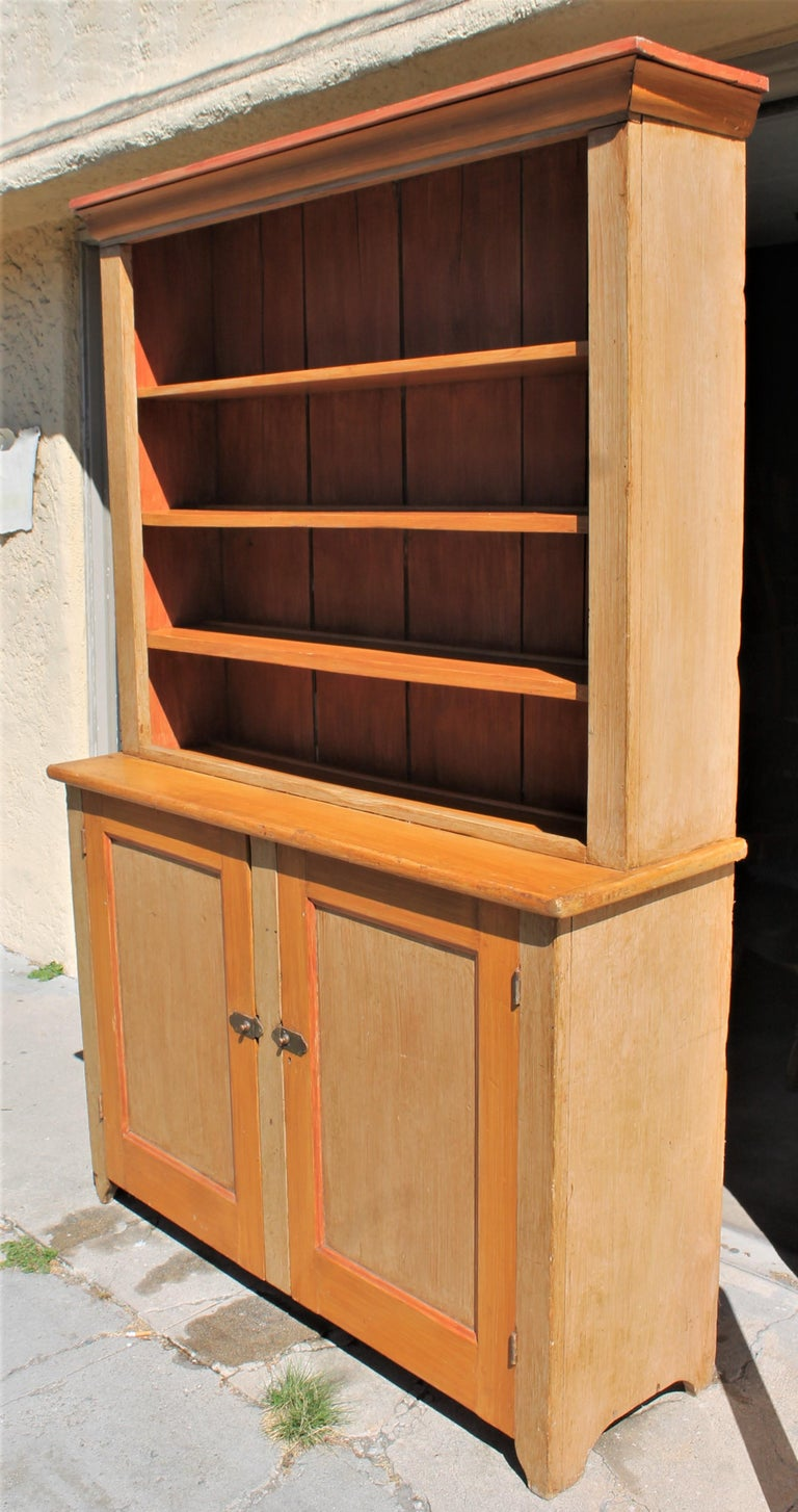 Country 19th Century Stepback Cupboard in Original Painted Surface For Sale