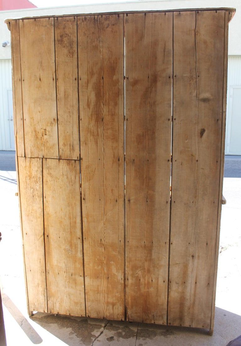 Hand-Crafted 19th Century Stepback Cupboard in Original Painted Surface For Sale