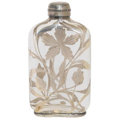 19th Century Sterling Silver Flower Victorian Flask