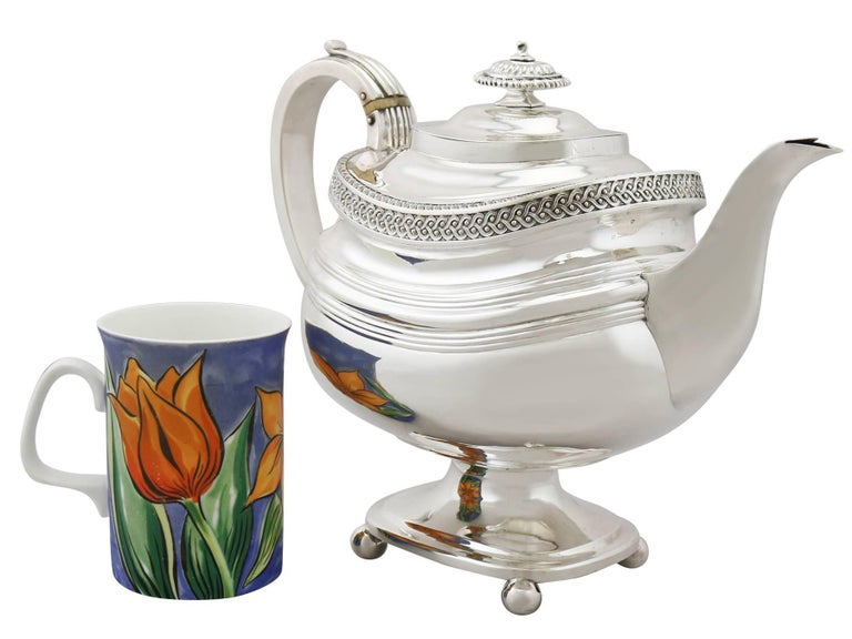 George III 19th Century Sterling Silver Four Piece Tea Service For Sale