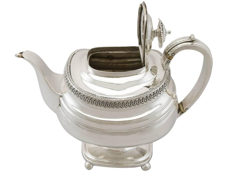 19th Century Sterling Silver Four Piece Tea Service, 1816 In Excellent Condition For Sale In Jesmond, Newcastle Upon Tyne
