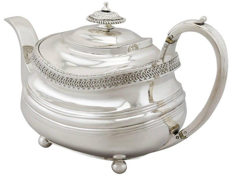 19th Century Sterling Silver Four Piece Tea Service, 1816 For Sale 2