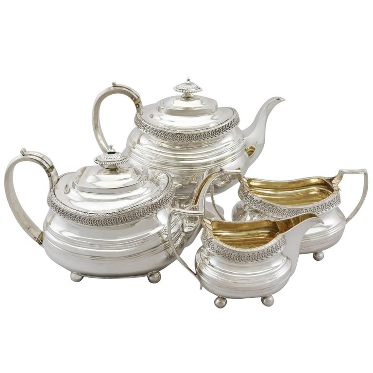 19th Century Sterling Silver Four Piece Tea Service For Sale