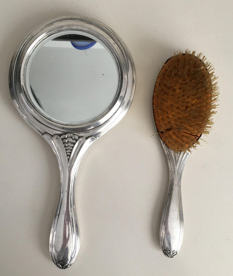 Victorian 19th Century Sterling Silver Hand Mirror and Hair Brush For Sale