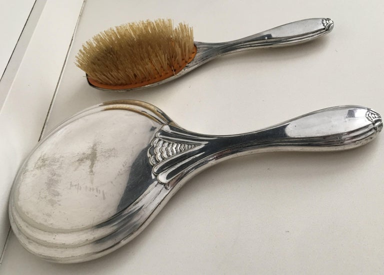French 19th Century Sterling Silver Hand Mirror and Hair Brush For Sale
