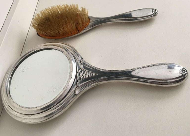 19th Century Sterling Silver Hand Mirror and Hair Brush In Distressed Condition For Sale In Miami, FL