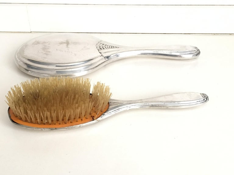 19th Century Sterling Silver Hand Mirror and Hair Brush For Sale 1