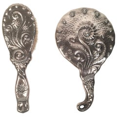 19th Century Sterling Silver Hand Mirror and Hair Brush w