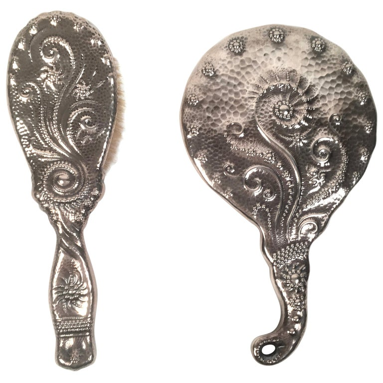 19th Century Sterling Silver Hand Mirror and Hair Brush w For Sale