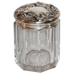 19th Century Sterling Silver Lidded Crystal Glass Jar