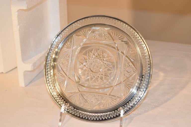 American 19th Century Sterling Silver Mounted Cut Glass Plate For Sale