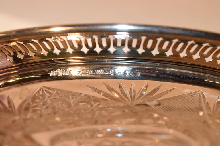19th Century Sterling Silver Mounted Cut Glass Plate In Good Condition For Sale In High Point, NC