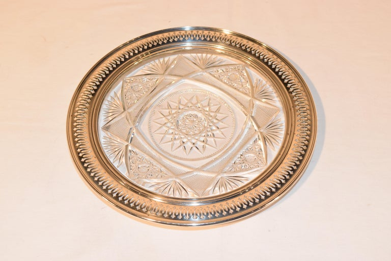 19th Century Sterling Silver Mounted Cut Glass Plate For Sale 1