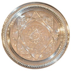 19th Century Sterling Silver Mounted Cut Glass Plate