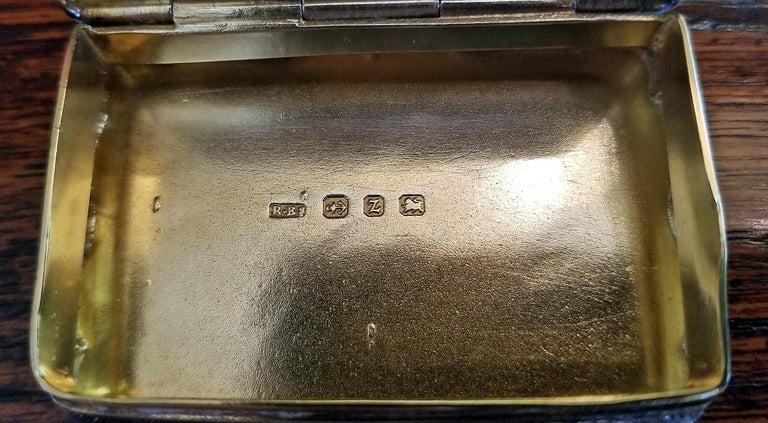 19th Century Sterling Silver Snuffbox Birmingham 1848 by Rolason Bros In Good Condition For Sale In Dallas, TX