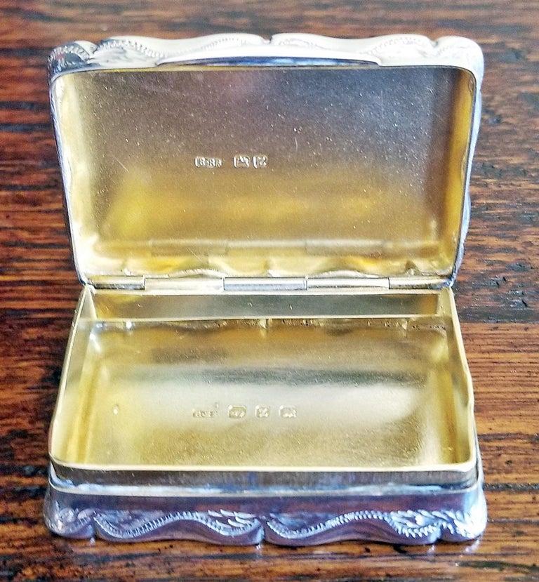 19th Century Sterling Silver Snuffbox Birmingham 1848 by Rolason Bros For Sale 1