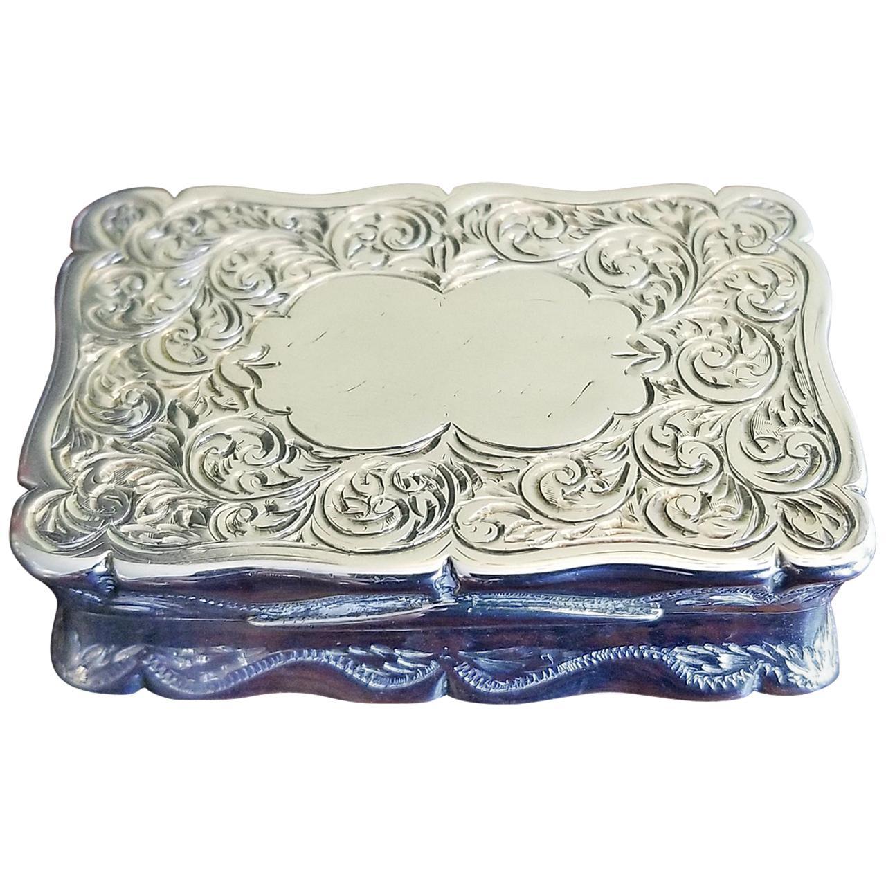 19th Century Sterling Silver Snuffbox Birmingham 1848 by Rolason Bros