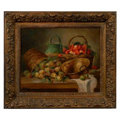 19th Century Still Life Framed Oil Antique Painting of Fruit Signed By M. Morin