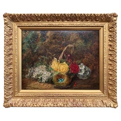 19th Century Still Life Oil Painting in Gilt Frame Signed Oliver Clare
