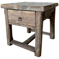 19th Century Stone and Oak Side Table