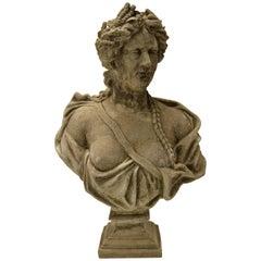 19th Century Stone Bust on Pedestal