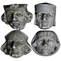 19th Century Stone Masons Plaster Corbels Sculpture Models Maquettes Busts