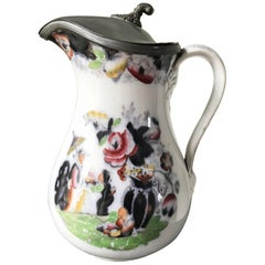 19th Century Stone Masonsware and Pewter Pitcher Jug