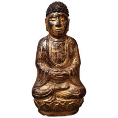19th Century Stone Sculpture Buddha Meditating on Lotus Flower