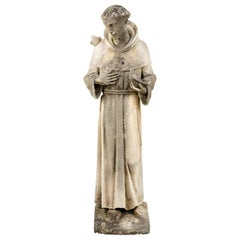 19th Century Stone Stature of St Francis of Assisi, Great Old Patination
