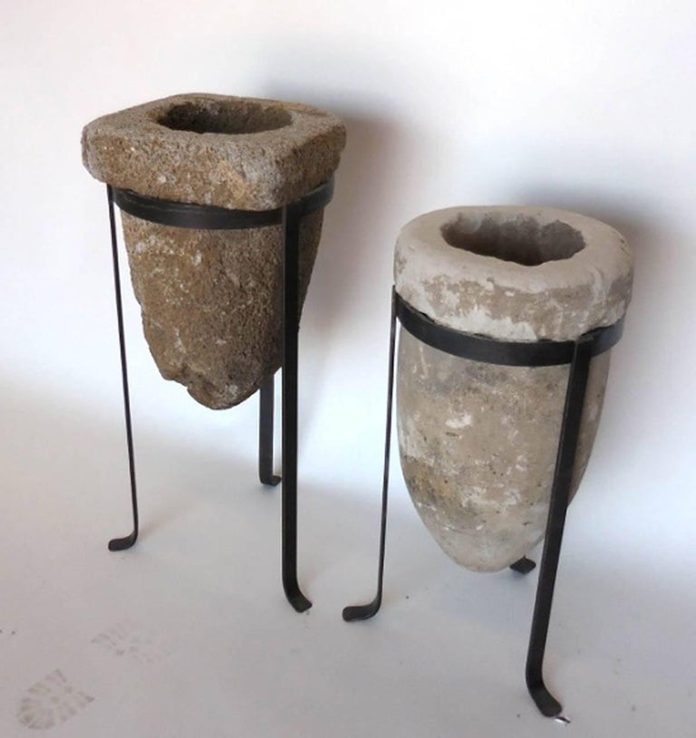 Rustic 19th Century Stone Water Filters/Planters on Iron Bases For Sale