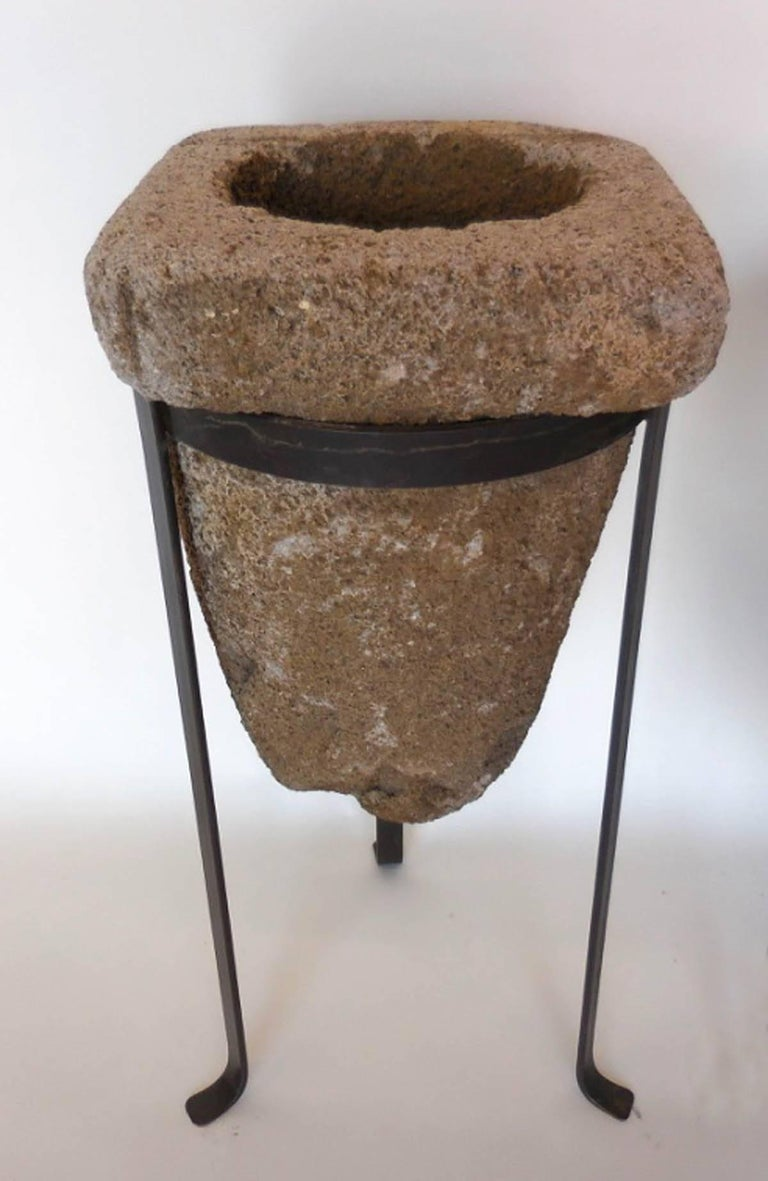Guatemalan 19th Century Stone Water Filters/Planters on Iron Bases For Sale