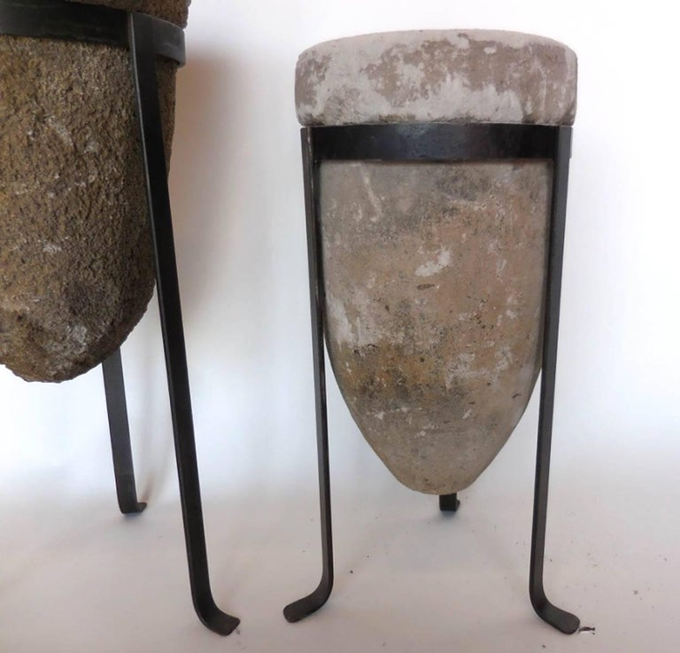 19th Century Stone Water Filters/Planters on Iron Bases For Sale 3