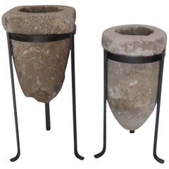 19th Century Stone Water Filters/Planters on Iron Bases