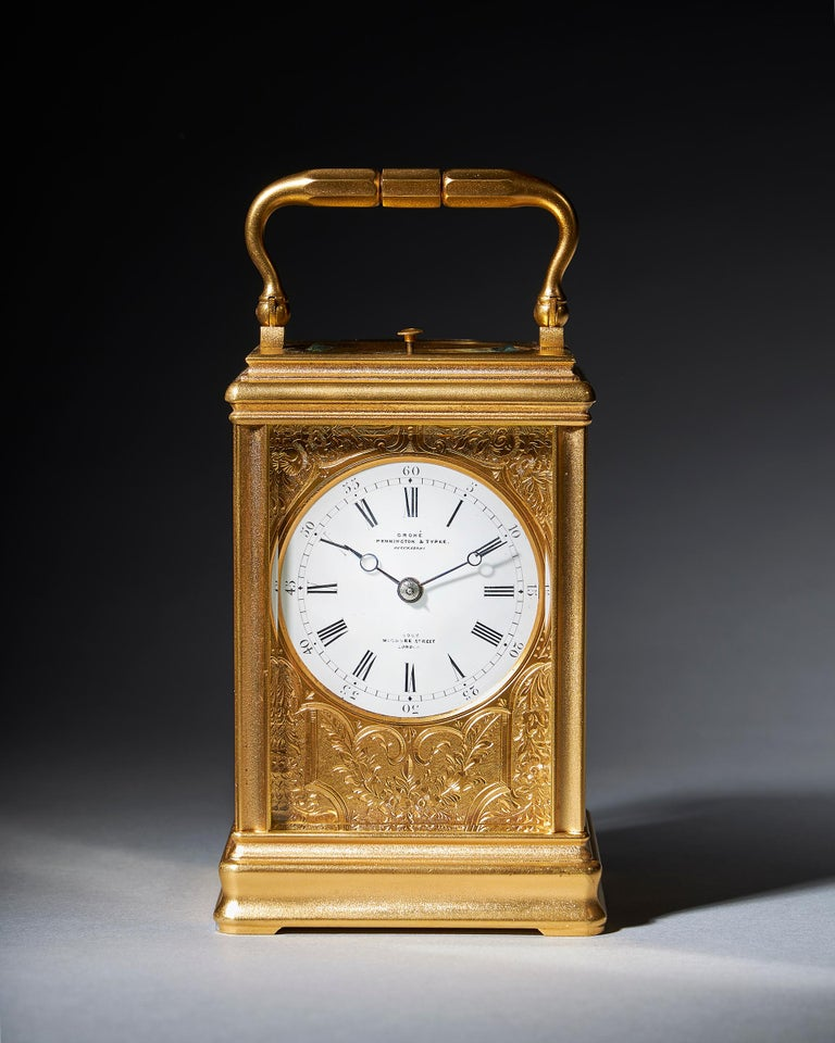 Victorian 19th Century Repeating Gilt-Brass Carriage Clock by the Famous Drocourt For Sale