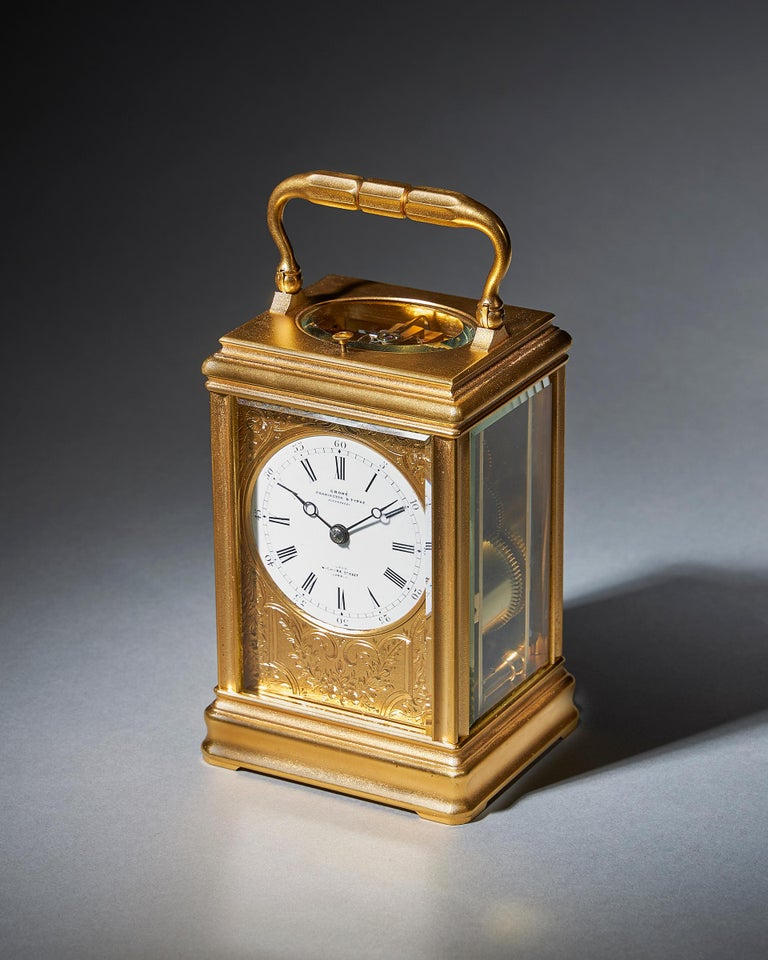 French 19th Century Repeating Gilt-Brass Carriage Clock by the Famous Drocourt For Sale