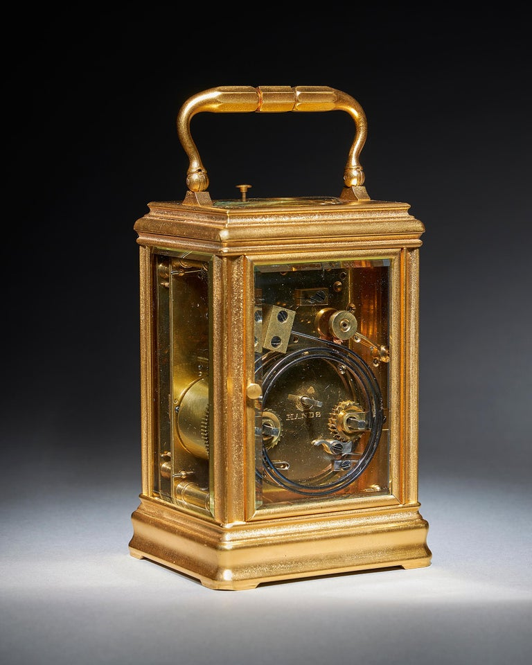 19th Century Repeating Gilt-Brass Carriage Clock by the Famous Drocourt In Excellent Condition For Sale In Buscot, Oxfordshire